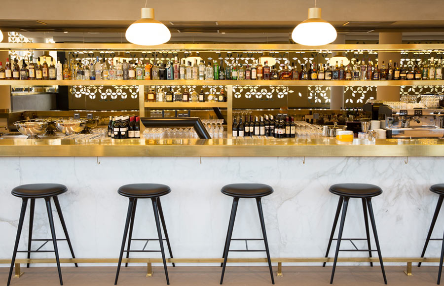 Restaurant, Cafe, Cafeteria, Kantine, Interior, Bar, Lighting, Feature, Coffee, Mercedes-Benz, Design, Bar, Marble, Brass, Barstools