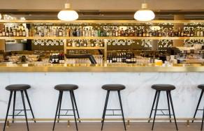 Restaurant, Cafe, Cafeteria, Kantine, Interior, Bar, Lighting, Feature, Coffee, Mercedes-Benz, Design, Bar, Marble, Brass, Barstools